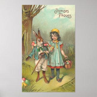Joyeuses Pâques Cute Vintage Easter Poster