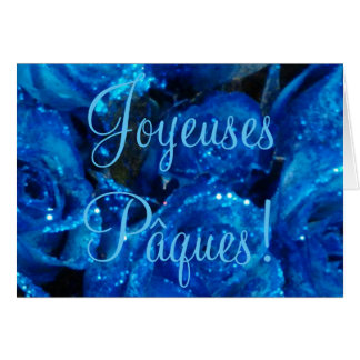 Joyeuses Pâques French Easter Blue Roses Flowers Greeting Card