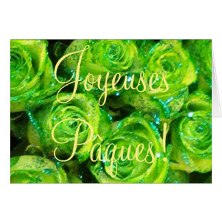 Joyeuses Pâques French Easter Purple Roses Flowers Greeting Card