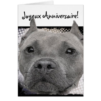 Joyeux Anniversaire Pitbull Dog Greeting card