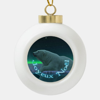 Joyeux Noёl - Ice Edge Polar Bear Ceramic Ball Christmas Ornament