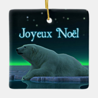 Joyeux Noёl - Ice Edge Polar Bear Ceramic Ornament