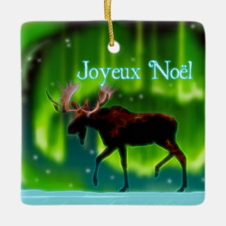Joyeux Noёl - Northern Lights Moose Ceramic Ornament