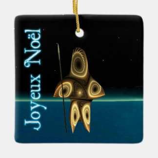 Joyeux Noёl - Tuvaaq Fractal Inuit Hunter Ceramic Ornament
