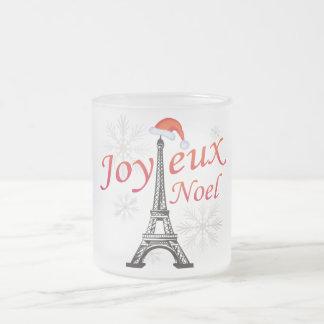 Joyeux Noel 10 Oz Frosted Glass Coffee Mug