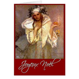 Joyeux Noel - Alphose Mucha Greeting Card