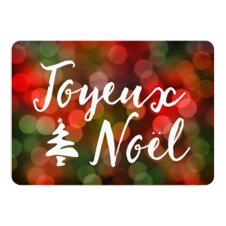 Joyeux Noël bokeh tree lights Card