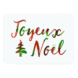 Joyeux Noel bokeh tree lights Card