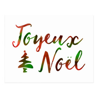Joyeux Noel bokeh tree lights Postcard