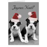 Joyeux Noël Boston Terriers greeting card
