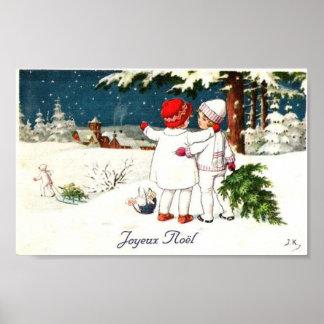 Joyeux Noel Children Xmas Card Poster