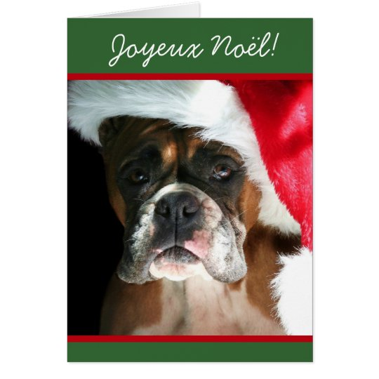 Joyeux Noël Christmas Boxer Dog greeting card