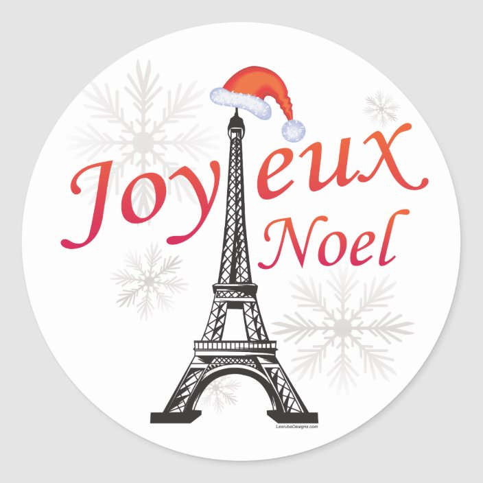 Stickers Joyeux Noel Joyeux Noel Classic Round Sticker   Zazzle.com
