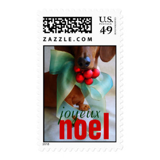 joyeux noel dachshund christmas postage stamp