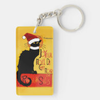 Joyeux Noël Du Chat Noir Double-Sided Rectangular Acrylic Keychain