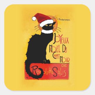 Joyeux Noël Du Chat Noir Pegatina Cuadrada
