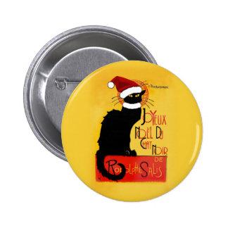 Joyeux Noël Du Chat Noir Pin Redondo De 2 Pulgadas