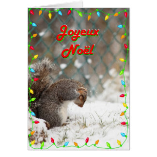 Joyeux Noël écureuil brossage sur la neige Card
