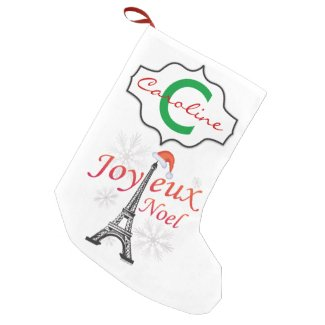 Joyeux Noel Eiffel Tower Monogrammed Small Christmas Stocking