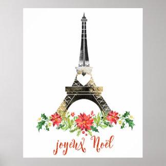 Joyeux Noel Eiffle Tower Christmas Poster