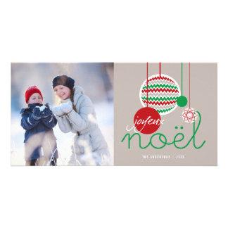 Joyeux Noel Festive Chevron Holiday Photo Card