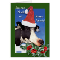 Joyeux Noel, French Christmas Cow with Santa Hat Card