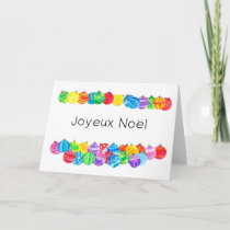 Joyeux Noël French Christmas , watercolor baubles Holiday Card