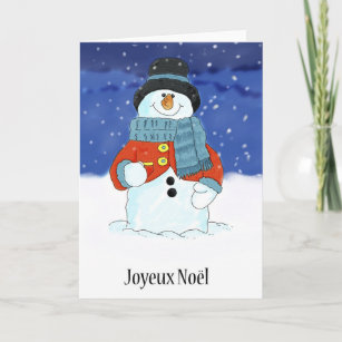 French christmas snowman cards greeting photo cards zazzle joyeux nol french snowman seasons greetings holiday card m4hsunfo