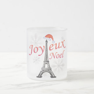 Joyeux Noel Frosted Glass Coffee Mug