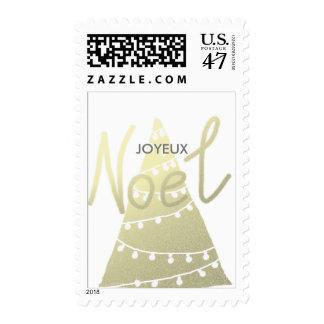 Joyeux Noel Gold Script Christmas Tree Modern Postage