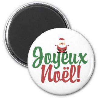 Joyeux Noel Happy Christmas 2 Inch Round Magnet
