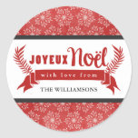 Joyeux Noel Holiday Gift Tag Stickers / Red
