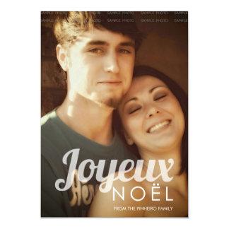 "Joyeux Noel Holiday Photo Retro Christmas Coral 5"" X 7"" Invitation Card"