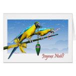 Joyeux Noël Macaw Birds French Christmas Card