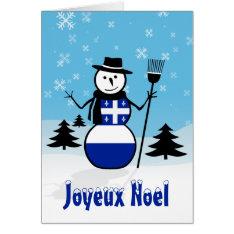 Joyeux Noel Merry Christmas Canada Snowman Quebec Card at Zazzle