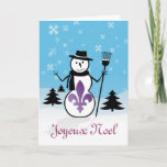 Joyeux Noel Merry Christmas Fleur-de-lis Snowman