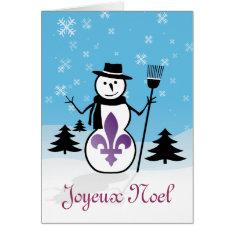 Joyeux Noel Merry Christmas Fleur-de-lis Snowman Card at Zazzle