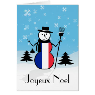 French Christmas Snowman Greeting Cards | Zazzle