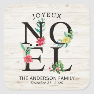 joyeux noel merry christmas happy new year wishes square sticker