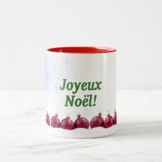 Joyeux Noël! Merry Christmas in French gf Two-Tone Coffee Mug