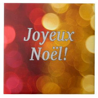 Joyeux Noël! Merry Christmas in French wf Ceramic Tile