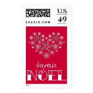 Joyeux Noel Merry Christmas on Red Postage Stamp