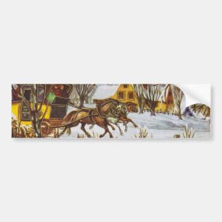 Joyeux Noel - Merry Christmas Vintage Horses Bumper Stickers