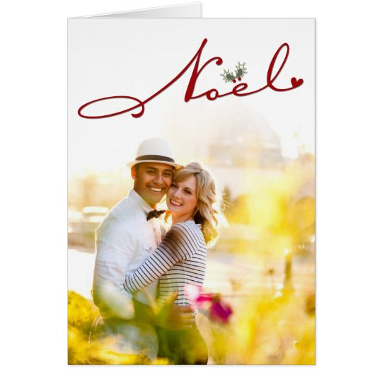 Joyeux Noel Mistletoe Holiday Greetings Photo Card