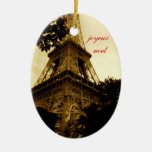 Joyeux Noel, ornamento del navidad de la torre Eif Adorno
