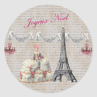Joyeux Noel Palace de Versailles ~Marie Antoinette Round Stickers