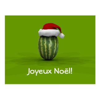 Joyeux Noël Pastèques Postcard