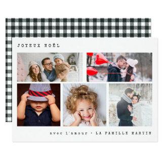 Joyeux Noel Photo Collage | Black Gingham Card