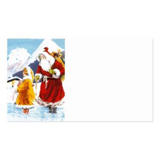 Joyeux  Noel Santa and Girl in Alps Business Card