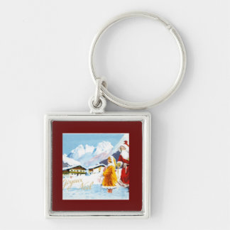 Joyeux  Noel Santa and Girl in Alps Silver-Colored Square Keychain